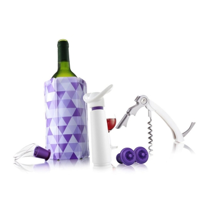 Vacuvin Giftset Wine Essentials Set van 4 Wit-Paars