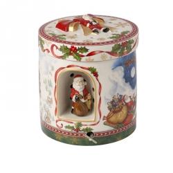 Muziekdoos Waxinelichthouder Kerstman 21 cm