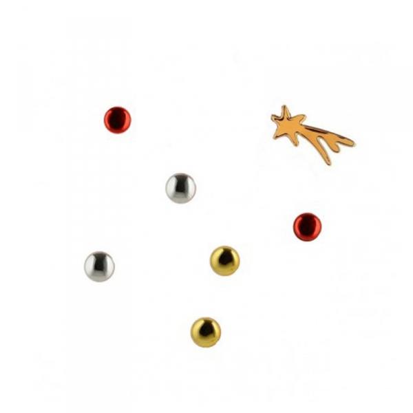 Kerstboom magneten, 6 stuks en 1 ster