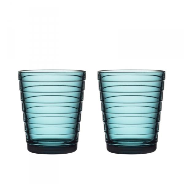 Glazen 22 cl zeeblauw , per 2