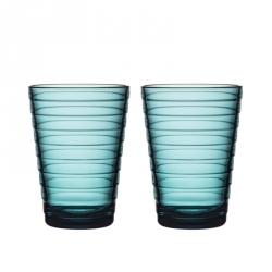 Glazen 33 cl zeeblauw, per 2