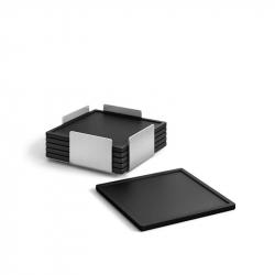 Onderzetter zwart siliconen, per 6