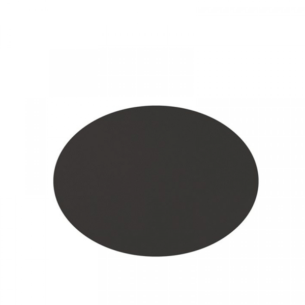 Placemats lederlook ovaal zwart 33 x 45 cm, per 6