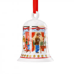 Kerstklokje kerstmarkt porselein 7 cm