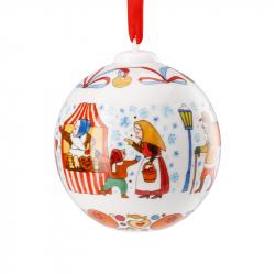 Kerstbal kerstmarkt porselein 7 cm