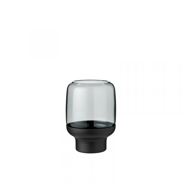 Theelichthouder metaal zwart 14 cm