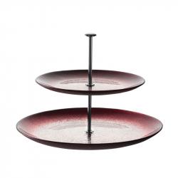 Etagère 2-laags rood/zilver 25 cm