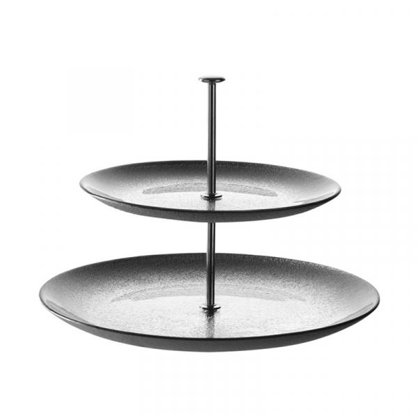 Etagère 2-laags grijs/zilver 25 cm