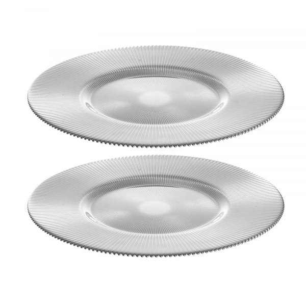 Onderbord Glas 36 cm zilver, per 2