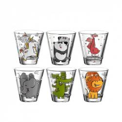 Kinderwaterglazen van glas met dieren, per 6