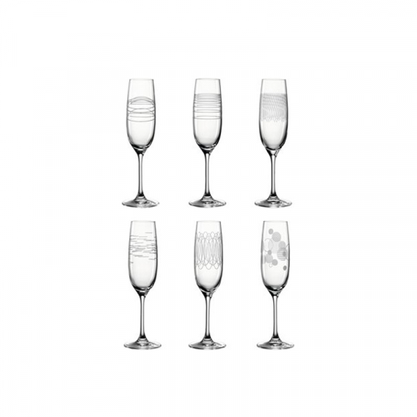 Champagne glazen met print, per 6