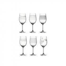 Wijnglazen met print, per 6