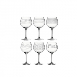 Burgundyglazen met print, per 6