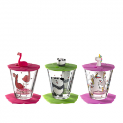 Kinderdrinkset unicorn, panda en flamingo, 9 delig