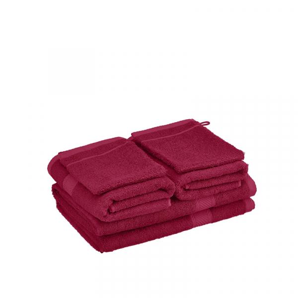 Handdoekenset met washanden Beet Red, 6 delig