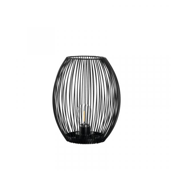 Lantaarn met led lamp 24 cm zwart