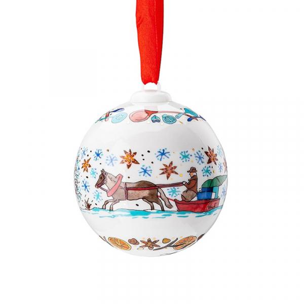 Kerstbal bakkerij porselein 7 cm
