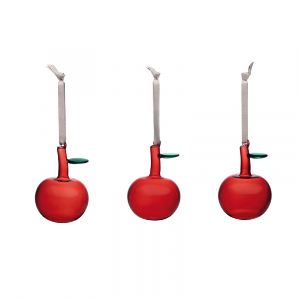 Glazen appel ornament, per 3