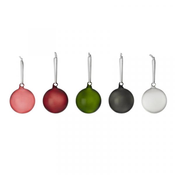 Glazen gekleurde kerstballenset 8 cm, per 5