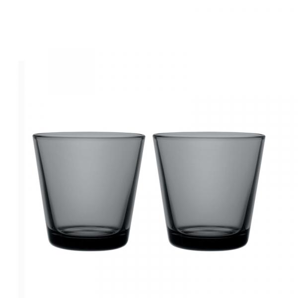 Glazen 21 cl donkergrijs, per 2