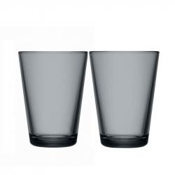 Glazen 40 cl donkergrijs, per 2