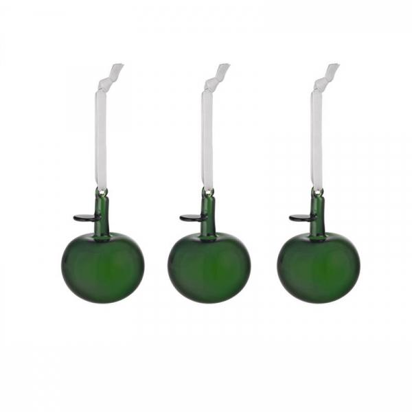 Glazen appel groen set van 3