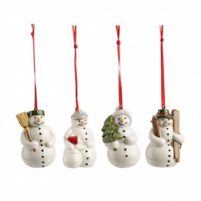 Villeroy, &, Boch, Nostalgic, Ornaments, Ornamenten, sneeuwman, 4-delig, Wonen, x mass