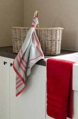 De Witte Lietaer Tirato Theedoek 70 x 70 cm Grijs rood