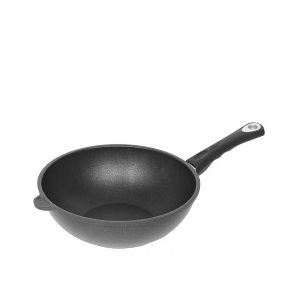 Wok met steel 26 cm Zwart